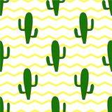 Fondo senza cuciture con i cactus su un fondo dello zigzag giallo Fotografie Stock Libere da Diritti