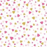 Fondo senza cuciture con i cuori dorati e rosa del biglietto di S. Valentino Fotografie Stock Libere da Diritti