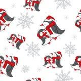 Fondo senza cuciture con i fiocchi di neve ed i pinguini Nuovo anno, Natale, festa Fotografia Stock Libera da Diritti