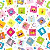 Fondo senza cuciture con i giocattoli ed i bambini del fumetto illustrazione di stock
