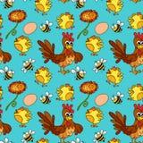 Fondo senza cuciture con i polli e le api illustrazione di stock