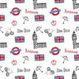 Fondo senza cuciture con i simboli di Londra Immagine Stock Libera da Diritti