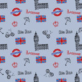Fondo senza cuciture con i simboli di Londra Fotografie Stock Libere da Diritti