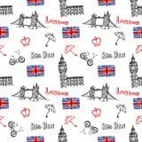 Fondo senza cuciture con i simboli di Londra Fotografia Stock