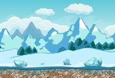 Fondo senza cuciture con il paesaggio di inverno Immagini Stock Libere da Diritti