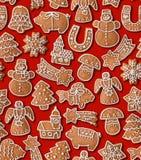Fondo senza cuciture con il pan di zenzero di Natale Immagine Stock