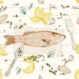 Fondo senza cuciture con il piatto di pesci Immagini Stock