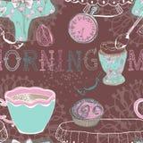 Fondo senza cuciture con il tè di mattina Fotografia Stock