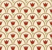 Fondo senza cuciture con il tulipano nel cerchio nei colori nostalgici Fotografie Stock Libere da Diritti