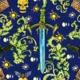 Fondo senza cuciture con la spada ed i simboli mistici Fotografia Stock