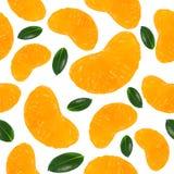 Fondo senza cuciture con le fette del mandarino su un fondo bianco Immagini Stock