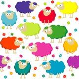 Fondo senza cuciture con le pecore sveglie Fotografia Stock