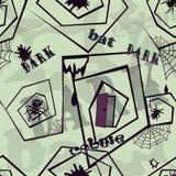 Fondo senza cuciture con le ragnatele ed i ragni - 2 scuri illustrazione di stock
