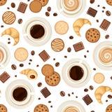 Fondo senza cuciture con le tazze di caffè, i fagioli, i biscotti, i croissant ed il cioccolato Illustrazione di vettore Immagine Stock