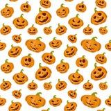 Fondo senza cuciture con le zucche sorridenti per il tema di Halloween Fotografia Stock