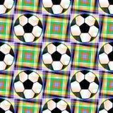 Fondo senza cuciture con un pallone da calcio e le stelle five-ponted in colori traslucidi illustrazione vettoriale