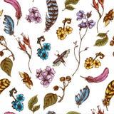 Fondo senza cuciture d'annata con i fiori, scarabei Fotografia Stock