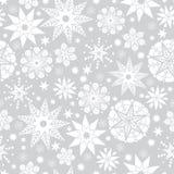 Fondo senza cuciture d'argento del modello di Grey di vettore e di scarabocchio delle stelle astratte bianche Grande per il tessu royalty illustrazione gratis