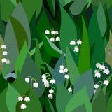Fondo senza cuciture dal mazzo di fiori e di foglie sboccianti dei mughetti Fotografie Stock