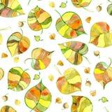 Fondo senza cuciture decorativo dell'acquerello di autunno Fotografia Stock Libera da Diritti