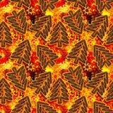 Fondo senza cuciture degli alberi di Natale dorati con il fondo brillante delle stelle Immagini Stock Libere da Diritti