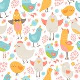 Fondo senza cuciture degli uccelli svegli Fotografie Stock Libere da Diritti