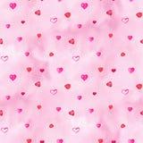 Fondo senza cuciture dei cuori dell'acquerello Modello rosa del cuore dell'acquerello Struttura romantica dell'acquerello variopi immagini stock libere da diritti
