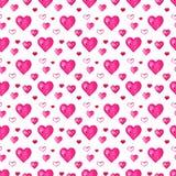 Fondo senza cuciture dei cuori dell'acquerello Modello rosa del cuore dell'acquerello Struttura romantica dell'acquerello variopi immagini stock