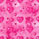 Fondo senza cuciture dei cuori dell'acquerello Modello rosa del cuore dell'acquerello Struttura romantica dell'acquerello variopi illustrazione vettoriale