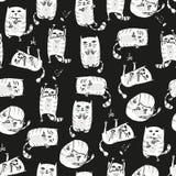 Fondo senza cuciture dei gatti svegli bianchi Vettore illustrazione di stock