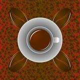 Fondo senza cuciture del caffè con la tazza di caffè ed i chicchi di caffè Fotografia Stock Libera da Diritti