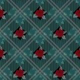 Fondo senza cuciture del controllo di vettore con i mazzi dei fiori rossi sul fondo del plaid di tartan EPS10 royalty illustrazione gratis