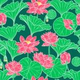 fondo senza cuciture del fiore e delle foglie di loto illustrazione vettoriale