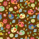 Fondo senza cuciture del fumetto con gli uccelli di colore Immagini Stock