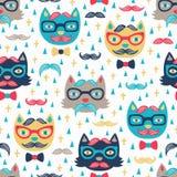 Fondo senza cuciture del gatto dei pantaloni a vita bassa Immagini Stock