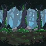 Fondo senza cuciture del gioco Paesaggio scuro magico della foresta per progettazione del gioco Fotografia Stock Libera da Diritti