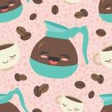 Fondo senza cuciture del modello del caffè felice rosa di vettore fotografie stock