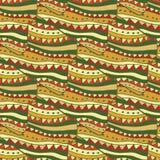 Fondo senza cuciture del modello con gli ornamenti astratti di scarabocchio Passi l'illustrazione di tiraggio per lo spostamento, Fotografia Stock