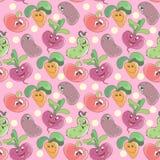 Fondo senza cuciture del modello con le verdure sorridenti divertenti del fumetto per il tessuto o la stampa dei bambini royalty illustrazione gratis