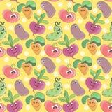 Fondo senza cuciture del modello con le verdure sorridenti divertenti del fumetto per il tessuto o la stampa dei bambini Fotografia Stock Libera da Diritti