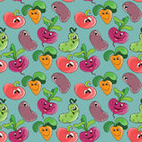 Fondo senza cuciture del modello con le verdure sorridenti divertenti del fumetto per il tessuto o la stampa dei bambini Fotografia Stock