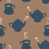Fondo senza cuciture del modello con servizio di tè di schizzo Fotografia Stock