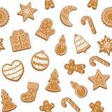 Fondo senza cuciture del modello dei biscotti di Natale del fumetto Vettore illustrazione vettoriale