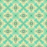 Fondo senza cuciture del modello del caleidoscopio del mosaico - retro colori verde chiaro e beige pastelli - stelle e crisi Immagini Stock