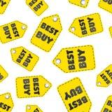 Fondo senza cuciture del modello dell'etichetta di caduta di Best Buy Affare piano Immagini Stock Libere da Diritti