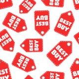 Fondo senza cuciture del modello dell'etichetta di caduta di Best Buy Affare piano Immagine Stock Libera da Diritti