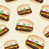 Fondo senza cuciture del modello dell'hamburger del panino del pane del manzo di bellezza del bbq del barbecue Immagine Stock