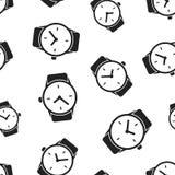 Fondo senza cuciture del modello dell'orologio dell'orologio Vettore piano IL di affari Immagine Stock Libera da Diritti
