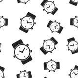 Fondo senza cuciture del modello dell'orologio dell'orologio Vettore piano IL di affari Fotografia Stock Libera da Diritti