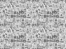 Fondo senza cuciture del modello della festa di compleanno di scarabocchio Fotografie Stock Libere da Diritti